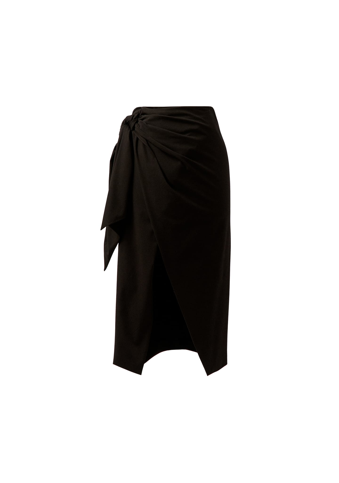 WRAP-EFFECT MIDI SKIRT