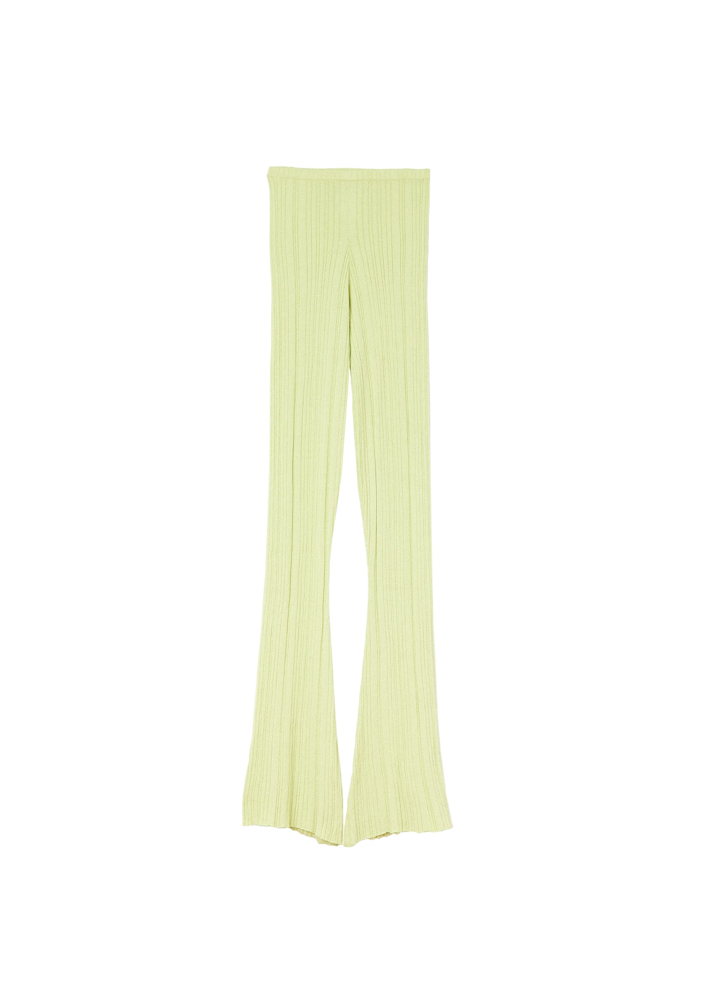 RIBBED-KNIT FLARED PANTS ELASTICATED WAISTBAND