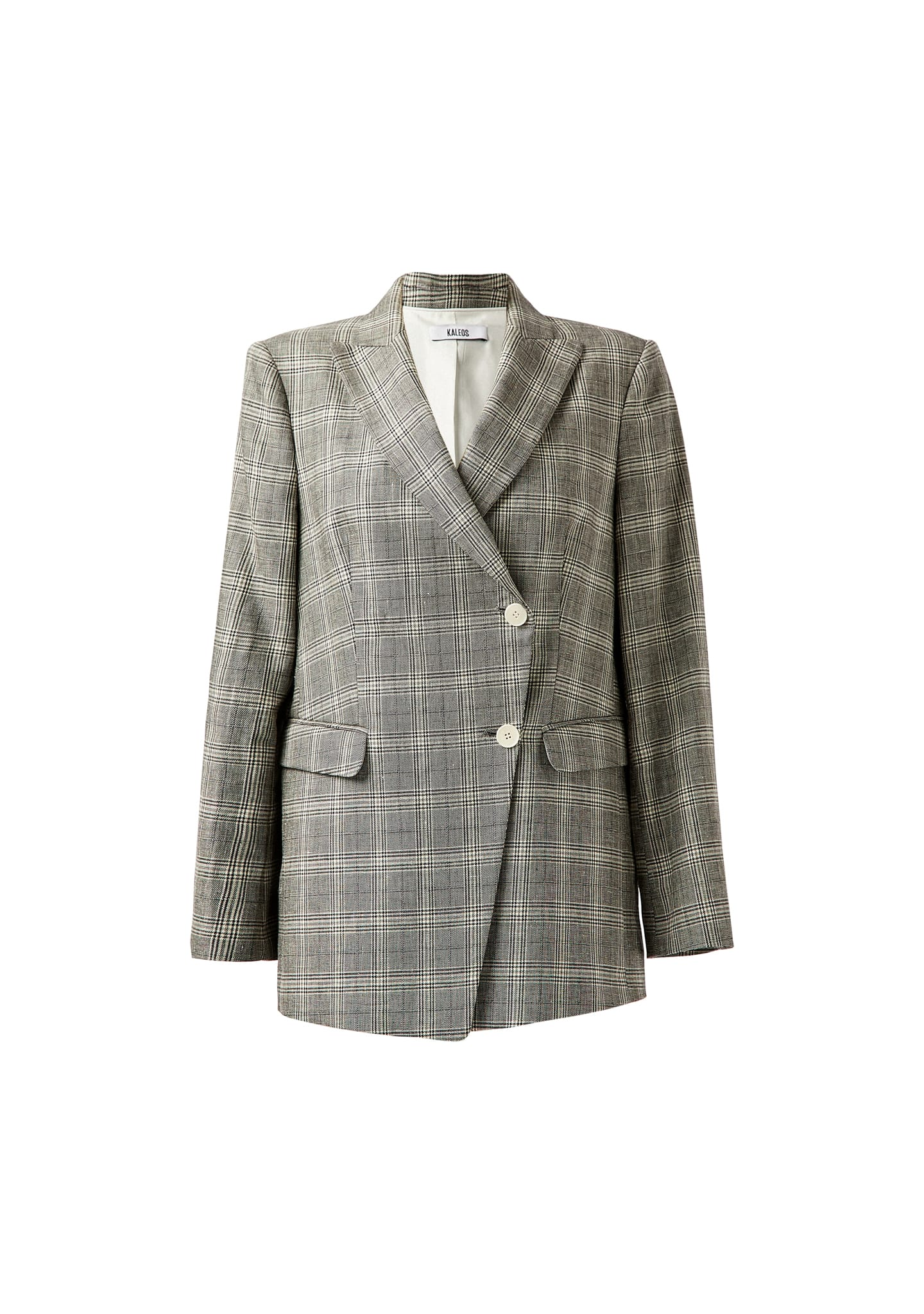 CHECKED OFF CENTER FASTEN BLAZER