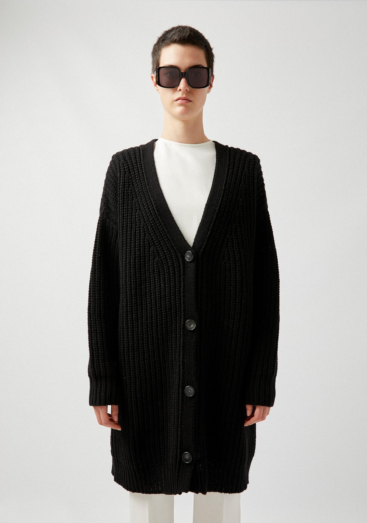 Gafas OVERSIZED RIBBED WOOL-CASHMERE CARDIGAN Color 0