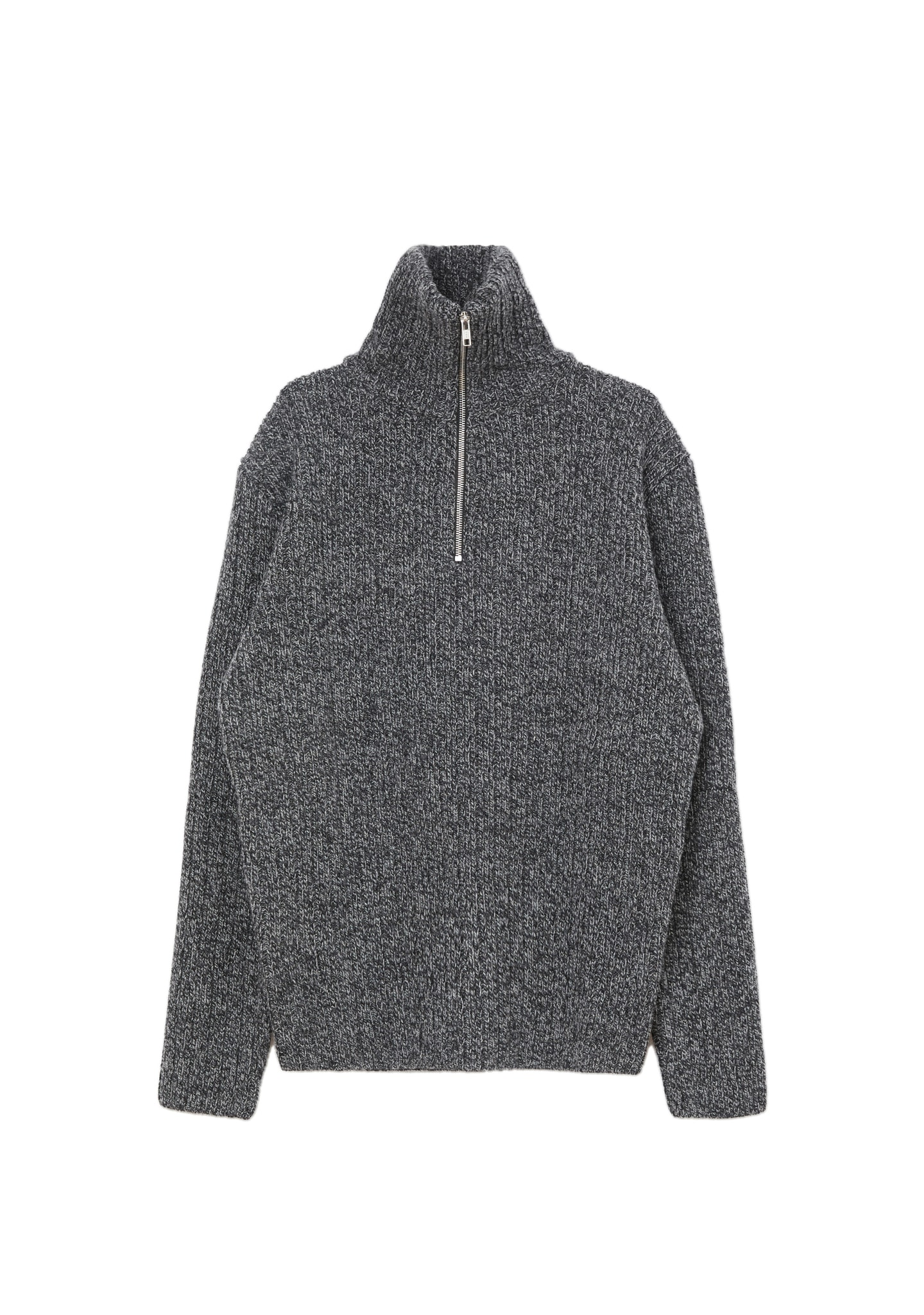 RIBBED WOOL-CASHMERE HALF-ZIP SWEATER
