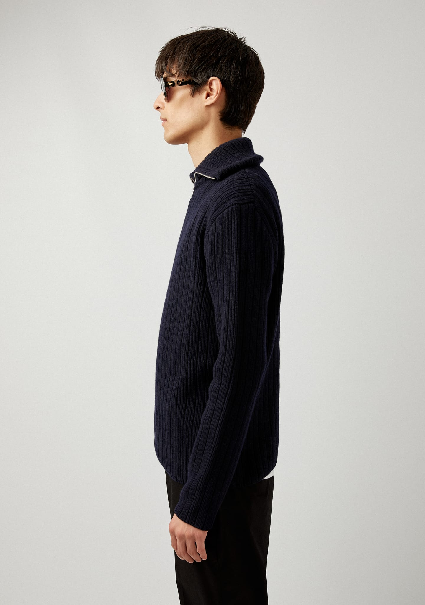 Gafas RIBBED WOOL-CASHMERE HALF-ZIP SWEATER Color 0